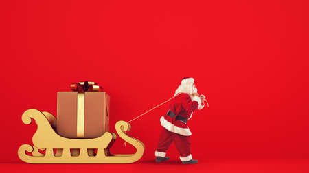 Santa Claus drags a big gift with a golden sleigh on a red background Archivio Fotografico - 133140272