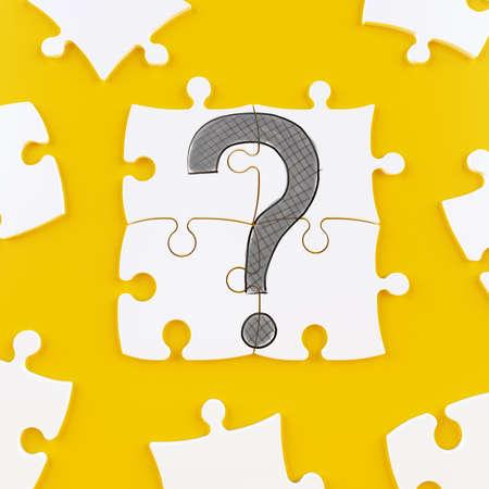 Puzzeltegels op een gele achtergrond die een vraagteken vormen Stockfoto