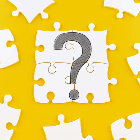 Puzzle tiles on a yellow background forming a question mark
