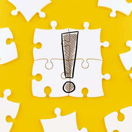Puzzle tiles on a yellow background forming an exclamation point