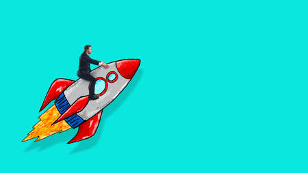 Sketch of a business man taking off on a rocket on a cyan background. Startup and ambition concept