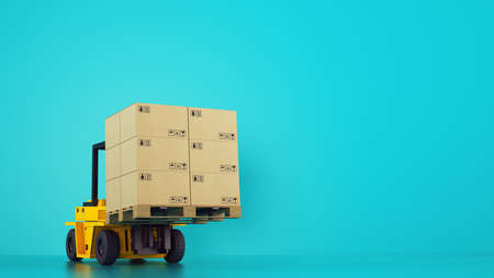Electric yellow forklift loads a wooden pallet with boxes on cyan background Stock Photo