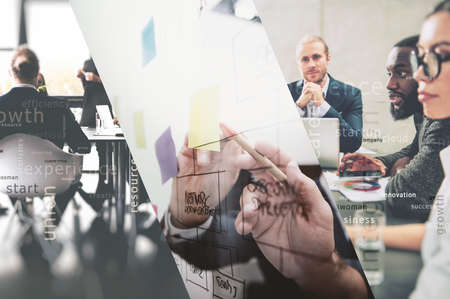 Collage of business people work together drawing a business diagram with marking pen. concept of teamwork, partnership and success. Double exposure