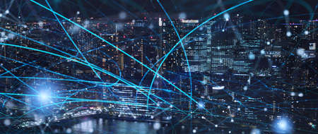 Fast connection in the city at night. Concept of social network and internet network