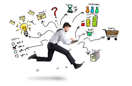Businessman runs with too many tasks on laptop. Concept of stress and overwork