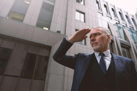 Business boss look far. Concept of future, success, determination, achievement. Zdjęcie Seryjne