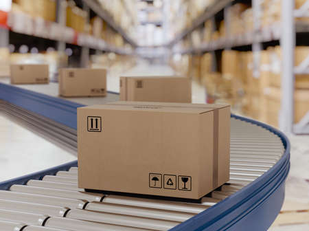 Cajas de cartón sobre rodillos transportadores listas para ser enviadas por mensajería para su distribución.