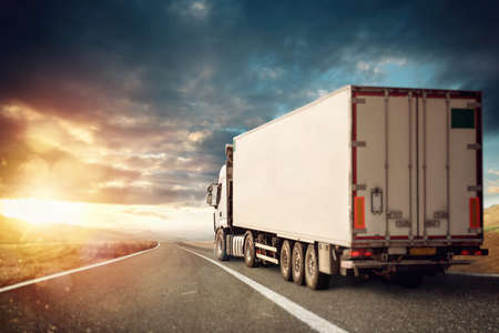 Moving truck in a natural landscape background