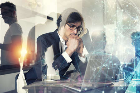 Businessman works from remote at home with his colleagues. Double exposure