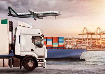 Truck, aircraft and cargo ship in a deposit with packages ready to start to deliver.
