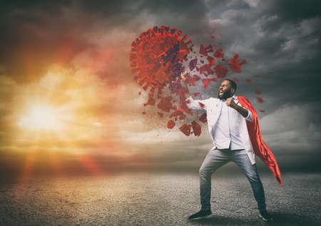 Super hero doctor with red cloak wins against viruses Imagens