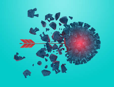 Arrow hits and destroys the coronavirus codiv19. Cyan background