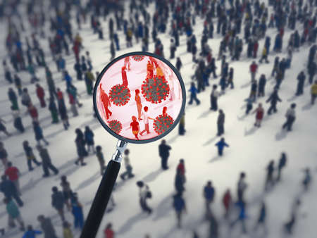 Search for the virus among people with a magnifying glass. 3D Rendering Stock Photo