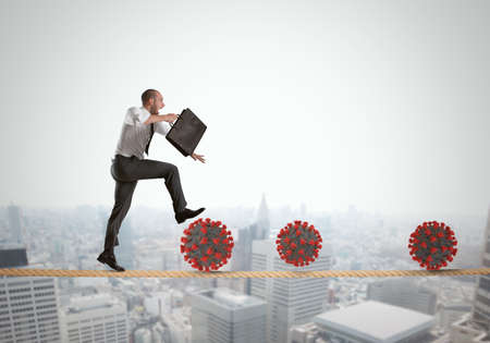 Business man going to work, in trouble on a hanging rope, with viruses lurking