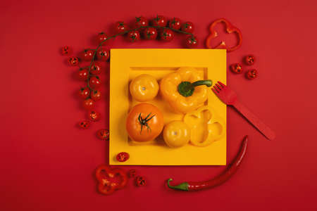 Mixed vegetables in a dish. Stylish composition. Red color background Standard-Bild