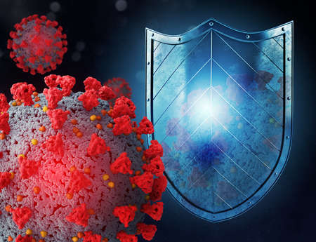 Shield protects from viruses attack. Concept of stop pandemic of covid 19 crown virus. 3d illustration