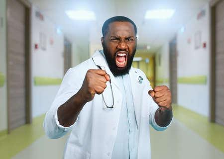 Brave medic fight against covid-19 coronavirus. Blue background