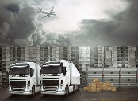 White trucks in the forecourt of an interchange port ready to load the goods and reach the destinations. International shipping logistics concept Stock Photo