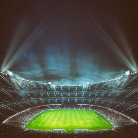 Football stadium with the stands full of fans waiting for the night game. Top view. 3D Rendering