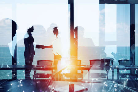 Business people collaborate together in office. Internet connection effects. Double exposure Stock Photo