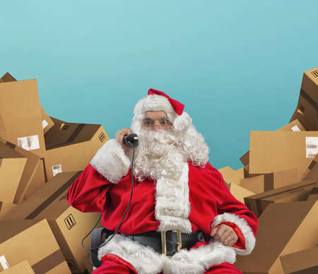 Santa Claus receives telephone calls for presents request