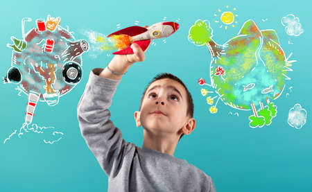 Child with a fast rocket migrates from polluted planet to a clean world. Cyan background