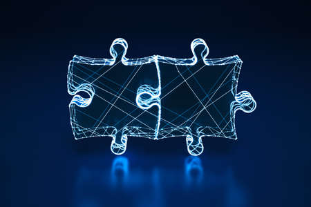 Illuminated wireframe of two connected puzzle pieces on dark blue background. 3D Rendering