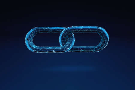 Illuminated wireframe of two chain pieces on dark blue background. 3D Rendering