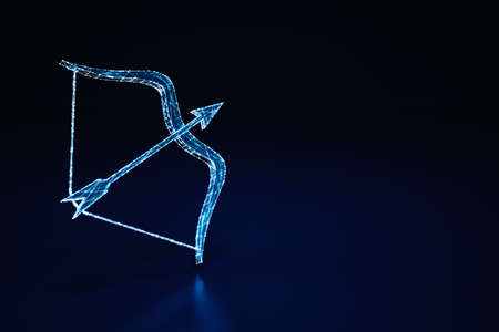 Illuminated wireframe of a bow and arrow on dark blue background. 3D Rendering Standard-Bild