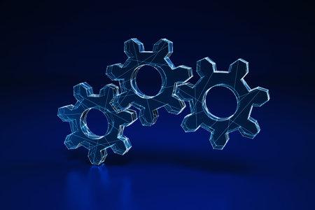 Illuminated wireframe of three gears on dark blue background. 3D Rendering