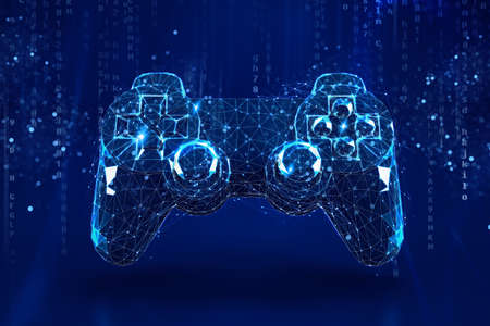Wireframe concept of a video game joypad on dark blue background. 3D Rendering