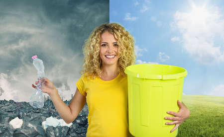 Woman is ready to puts a plastic bottle in the garbage can. Change from pollution to a clean planet. Standard-Bild