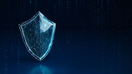 Wireframe concept of a shield on dark blue background. 3D Rendering Standard-Bild