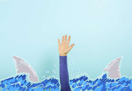 Person surrounded by sharks is drowning and needs help. concept of crisis and problem