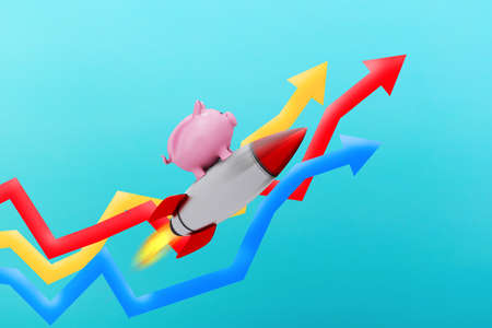 Piggy bank fly on a rocket over growing statistic arrows. Concept of fast increase of money.