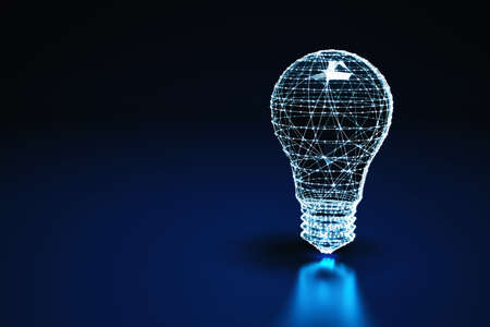 Illuminated wireframe of a bulb light on dark blue background. 3D Rendering