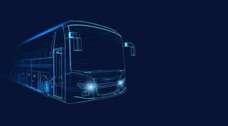 Wireframe of grand tour bus moving fast on a dark blue background