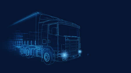 Wireframe of a transporter truck moving fast on a dark blue background