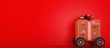 Gift for valentine day with wheels like a quick car. Concept of fast delivery