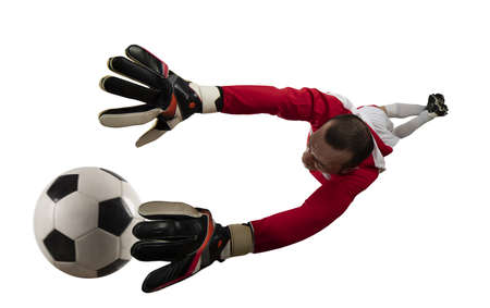 Goalkeeper tries to tatches the ball. Isolated on white background Standard-Bild - 161951302