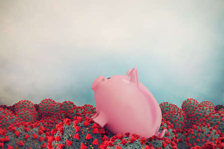 Distressed piggy bank is drowning in a sea of covid-19 viruses. Concept of global crisis generated by the coronavirus. Standard-Bild