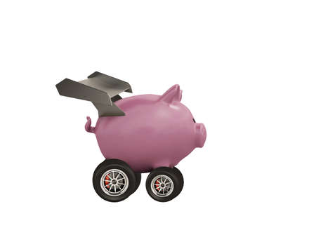 Piggy bank with wheel like a car. Concept of fast increse of money. Isolated on white background Standard-Bild - 161951939