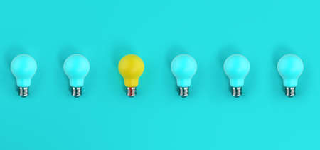 One light bulb on among many off. cyan background. Concept of creativity and idea