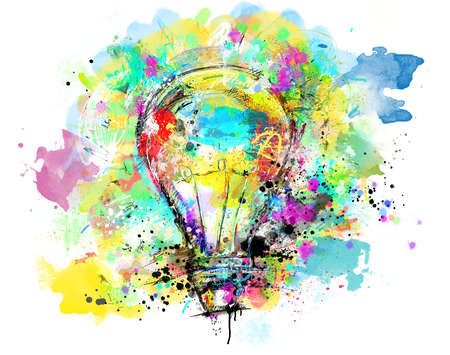 Big stylized light bulb on white background drawn with splashes of colored paint. Concept of innovation and creativity Standard-Bild