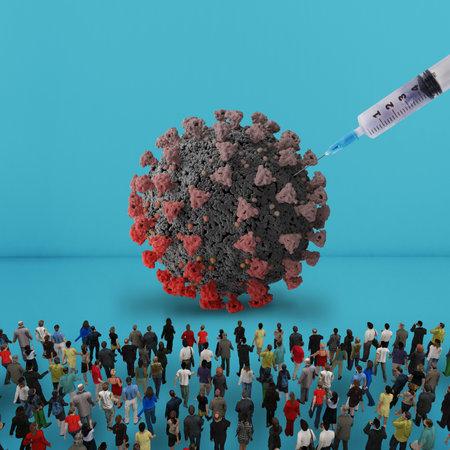 People observe a vaccine in action against the virus coronavirus covid 19 Standard-Bild