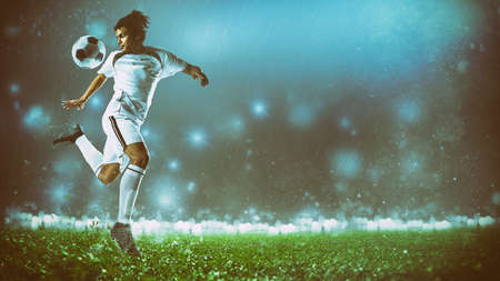 Soccer action scene with a footballer in white uniform performing a heel ball stop Standard-Bild - 162106189