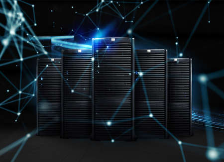 Group of server with fast digital network connection Standard-Bild