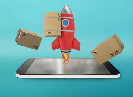 Smartphone with a rocket that exit from screen. concept of fast internet delivery Standard-Bild - 162391376