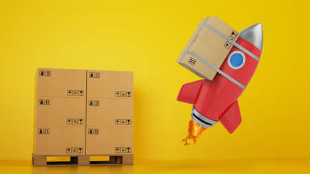 Rocket with attached package is ready to start. Concept of fast and priority delivery. Yellow background