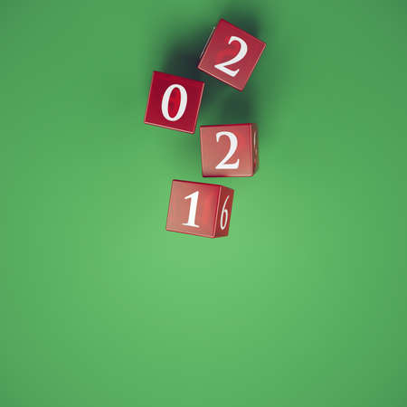 The roll of the dice brings out the year 2021 Standard-Bild - 162391830